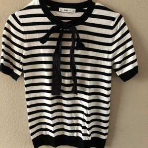 Zara striped shirt sleeve sweater!